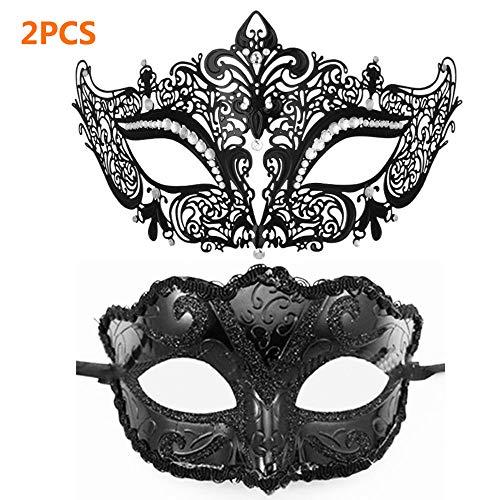 2 STÜCKE Maskerade Maske Metall Filigrane Katze Schwarze Maske für Venezianische Karneval Halloween Party, 1 STÜCK Kunststoff Fuchs Halloween Mode Venezianische Maske (Schwarz)