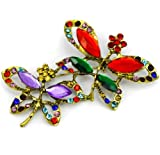 Elixir77UK Large Antique Gold Colour Butterfly Fashion Gift Pin Brooch With Multicolored Crystals