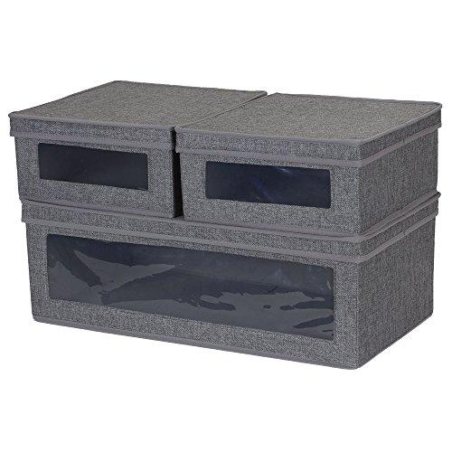 Haushalt Essentials dreiteilige Vision Aufbewahrungsboxen, Leinwand natur mit braunem Rand Brown Chevron -
