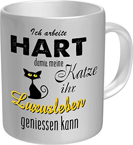 Original RAHMENLOS® Kaffeebecher für den Katzenliebhaber: Ich arbeite hart für das Luxusleben meiner Katze - Im Geschenkkarton 2623