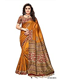 Fabwomen Sarees Kalamkari Mustard And Multi Coloured Kashmiri Silk With Tessels Traditional Party Wear Women's...