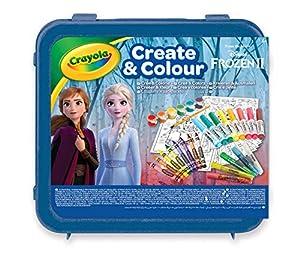 CRAYOLA- Maletín Create & Color Disney Frozen 2, para Dibujar y Colorear, 50 Pzs, Color Azul (04-0634)