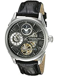 amazon co uk stuhrling original watches stuhrling original men s automatic watch black dial analogue display and black leather strap 657 02