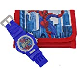 Majik Combo Of Wrist Watch With Wallet Pencil Pouch, Stationary Item, Gift Item For Kids Boys And Girls, 15 Gram, Pack Of 1 (Red)