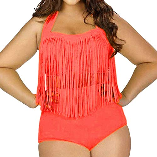 VBWER Damen Einfarbig Bikini Set Push Up Volant Hohe Taille Tankini Set Bademode Badeanzug Sport Split Bikinihose Große Größen