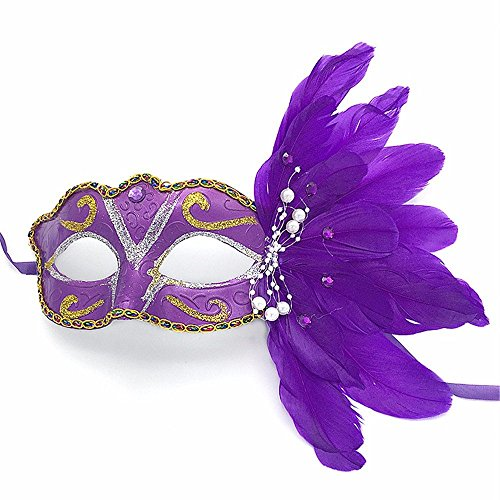 Masken Gesichtsmaske Gesichtsschutz Domino falsche Front Catwalk Make-up Tanz Maske Karneval Weihnachten Halloween Gemalt Feder Maske Party Halb Gesicht Maske Lila