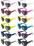 Blulu 12 Pezzi Colori al Neon Occhiali da Sole a Forma di Cuore per Donne Festa Favori e Festival (Colore Misto)