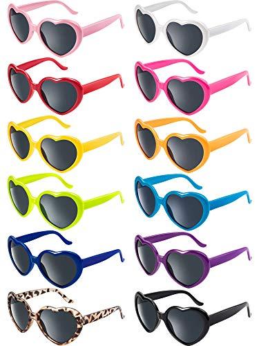 Blulu 12 Stück Neon Farben Herz Form Sonnenbrillen für Damen Kinder Party Favors und Festival (Gemischte Farbe)