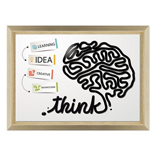ConKrea QUADRO SU TELA CANVAS INTELAIATO - CON CORNICE - Arte Astratta - Funzioni del cervello DESIGN La mente - The MIND - Medicina - 70x100cm - Stile Design Legno Naturale - (cod.184)