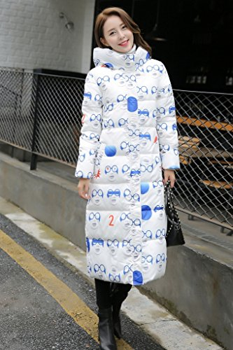 Bigood Femme Manteau Hiver Blouson Longue Doudoune Rembourré Chaud Parka Slim Avec Capot Imprimée Lunette Bleu