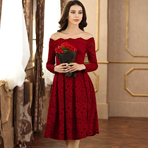 Miusol Damen Vintage 1950er Off Schulter Cocktailkleid Retro Spitzen Schwingen Pinup Rockabilly Kleid - 4