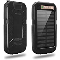 Xnuoyo 10000mAh Solar Charger Waterproof Dual USB Solar Power Bank Portable Charger Compatible with iPhone, iPad Air, iPad Pro, iPad Mini, Samsung Galaxy, Nexus, Tablets and other Mobile Phones