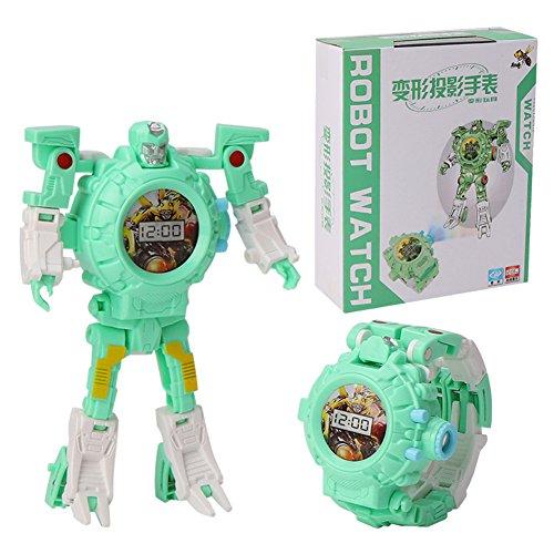 Etbotu Roboter Transformation Spielzeug Kinder Trasformation Armbanduhr Spielzeug Cartoon Projektion Uhren Kinder Weihnachtsgeschenke Roboter Transformation Spielzeug