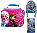 Disney Frozen Insulated School Lunch Bag Featuring Anna and Elsa Sisters Forever, Disney Frozen Deluxe Jump Rope and Disney Frozen Lip Gloss Set with Mini Tin Carrying Case by Disney Frozen