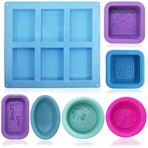 FineGood Silikonform für Seifenherstellung, Muffins, Cupcakes, Blau, Rosarot, Violett, Grün, 13-teilig