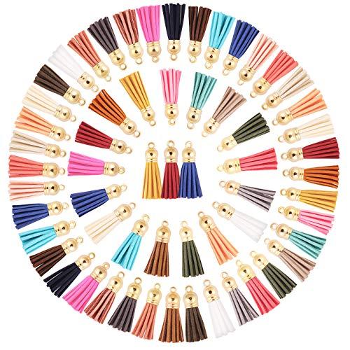 Candygirl 150 Stück 38 mm Leder Quaste Anhänger Faux Wildleder Quaste mit Kappe für Schmuckherstellung,Schlüsselanhänger, Kunsthandwerk und DIY Zubehör, 25 Farben