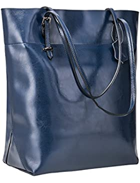 S-ZONE Vintage Split Genuine Leather Tote del sacchetto di spalla di grande capienza Big