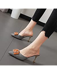 Xue Qiqi Pajarita zapatillas mujeres conforman un fresco pequeño alto talón zapatos boca superficial delgada con...