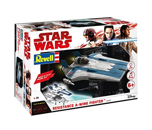 Revell Build & Play - Star Wars Resistance A-wing Fighter in blau - 06762, Maßstab 1:44, originalgetreue Nachbildung mit beweglichen Teilen, mit Light&Sound Effekten, robust zum (Wars Star Fighter Wing)