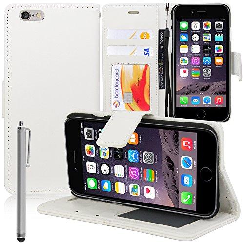 VComp-Shop® PU-Leder Handy Brieftasche mit Kartenfächer und Video-Standfunktion für Apple iPhone 6 Plus/ 6s Plus + Großer Eingabestift - PINK WEISS + Großer Eingabestift