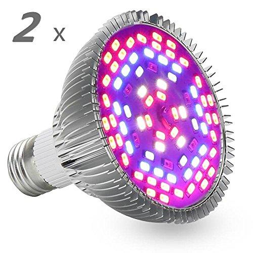 J.SUNUN LED Full Spectrum Lampada impianto, 24W, E27, 78 LED (42Red + 18Blue + 6White + 6IR + 6UV) Luce per Piante per Serra, Piante da Interno, Fiori e Verdure (UnitCount : Two)