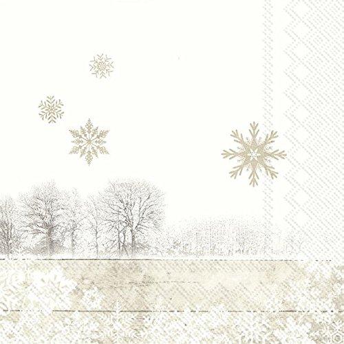 IHR Silent Winter Day Winter Schnee Szene Leinen Weihnachten Luncheon Papier Tisch Servietten 20in Einer Packung 33cm quadratisch