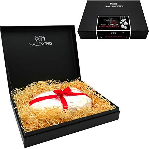 Hallingers Traditionell gebackener Christstollen in edler Box (500g) - Saftiger Christstollen (Design-Karton) - zu Weihnachten Adventskalender