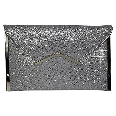 Wocharm Lavish Gold Trim Envelope Handbag Womens Party Prom Wedding Sparkly Clutch Bag Purse