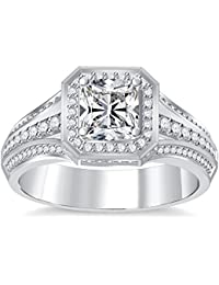 Silvernshine 4Ct Asscher Cut Clear CZ Dimoands 14K White Gold Plated Engagement & Wedding Ring