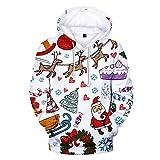 Binggong Unisex Xmas Print Hoodie Weihnachten Kapuzenpullover,Dicken 3D Druck Santa Print Longshirts Sweatshirt Weihnachtspulli Tunika Tops XXS -4XL