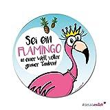 Flamingo-Mousepad | dv_228 | mit rutschfester Unterlage | Schreibtisch Office-Mauspad Computerzubehör alle Maustypen | Rutschfest Tropical Urlaub Rund Pink Präzise