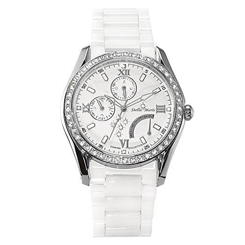 Stella Maris Damen-Armbanduhr Analog Quarz Premium Keramik Diamanten - STM15M3