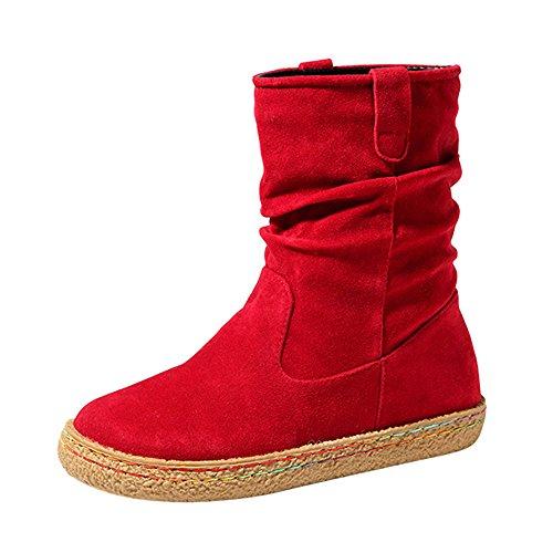 Damen Stiefel | Weibliche Wildleder | Biker Knöchel Trim | Flache Multicolor Draht | Warme Martin | Stiefel Schuhe Winter | Sunday (Rot, 41 EU) (Wildleder Schuhe Flache)