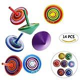 OZUAR 14 Stück Kreisel aus Holz, Spielzeugkreisel aus Holz, Farbenfroher Bemalung Kreisel Spielzeug Holzkreisel 4 x 4 x 4,5 cm