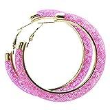 Netzoptik Ohrringe Ausgefallene Creolen aus Nylon Netzschlauch mit bunten Kristallen gefüllt in verschiedenen Farben Modeschmuck Schmuck von der Marke MyBeautyworld24 (rosa)