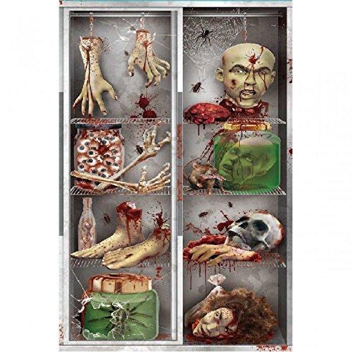 Halloween Tür-Dekoration - Blutige Körperteile wie abgehackte Hand Füße Kopf Kühlschrank 152x76cm