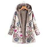 Frauen Vintage Damen Fleece Dick Mantel Hoodie Pullover Strickjacke Winterjacke Dicke Wollmantel Outwear Floral Print Hooded Oversize Winter Parka Wintermantel Warm Winterjacken(Hot Pink,M)