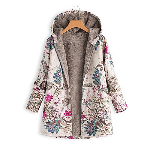 Frauen Vintage Damen Fleece Dick Mantel Hoodie Pullover Strickjacke Winterjacke Dicke Wollmantel Outwear Floral Print Hooded Oversize Winter Parka Wintermantel Warm Winterjacken(Hot Pink,S)