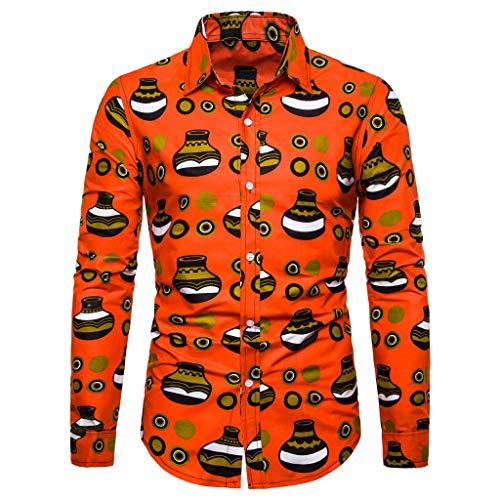 Notdark Herren Hemd Langarm Mode Freizeit Basic Bluse Top die Revers Regular Fit T Shirts Floral Gedruckt Männer Slim Fit Hemden(M,Mehrfarbig) -