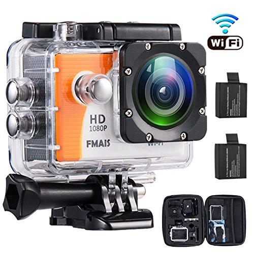 WiFi Action Kamera 2.0 inch LCD Full HD 1080P Camcorder Unterwasser 30 m/Sicherheitskamera Wasserdichte Sport-Kamera mit 2 wiederaufladbaren Batterien und Montage Zubehör Kit für Radfahren Schwimmen Klettern Div
