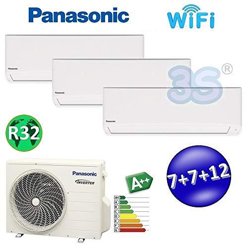 Trio split Klimmaalage Klimalagerat 7+7+12 PANASONIC Inverter R32 klasse A++ A+