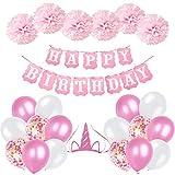 Ohighing Décorations Anniversaire Fille 1 an 2 Ans 3 Ans , Anniversaire Bannière Guirlande 1 * Banderole Happy Birthday + 6 Pompon Rose + 16 Ballons confettis +1 Chapeau d'anniversaire