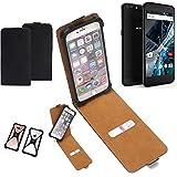K-S-Trade Flipstyle Hülle für Archos 55 Graphite Handyhülle Schutzhülle Tasche Handytasche Case Schutz Hülle + integrierter Bumper Kameraschutz, schwarz (1x)