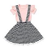 JUTOO Kinder Kinder Mädchen Kurzarm Tops T-Shirt + Stripe Strapsrock Set Outfit (Rosa,110)