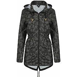 Brave Soul Festival Lluvia Mac para mujer Leopardo con capucha Parka Coat–Cazadora para hombre verde Camuflaje Verde 20