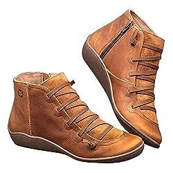 globalqi Frauen Senkfusseinlage Stiefel, Freizeit- Hoch-Spitze Turnschuhe Ankle Boots aus Leder Flach Slip On Stiefel Sport Breite Brie Comfy Booties mit seitlichem Reißverschluss