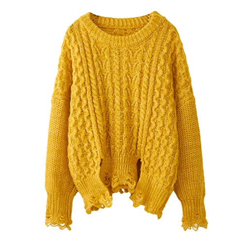 YOUJIA Femmes Chic Boyfriend Chandail Pull à manches longues Col rond Ripped Destroyed Distressed Pullover Pull-over en tricoté Jaune