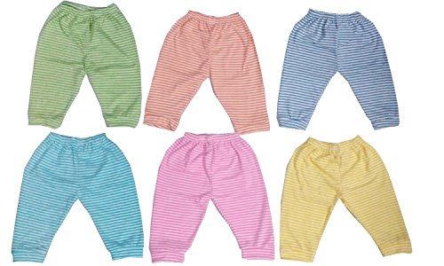 Baby Basics Striped Multi Color Soft Cotton Baby Leggings / Pajama Large - (Pack of 6)