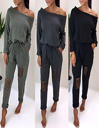 Boutiquefeel Damen Casual Schulterfrei Drawstring Top Ripped Hose Jumpsuits Dunkelgrau