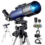 BEBANG Telescopio Astronomico -70mm Telescopio Rifrazione con Specchio Diagonale a 45 ° Può Correggere le Immagini, con Adattatore Telefonico, Filtro lunare, Treppiede Regolabile e Zaino